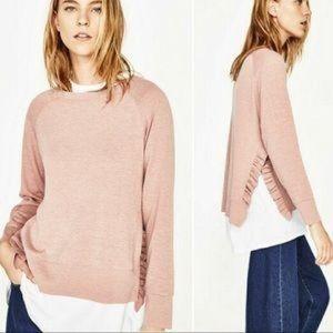 Zara Ruffle Split Side Sweater